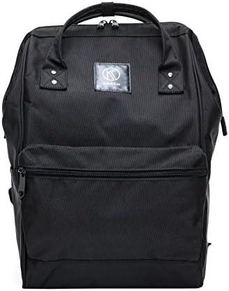 Kah Kee Polyester Travel Backpack Functional Anti-theft School Laptop for Women Men Black, Large