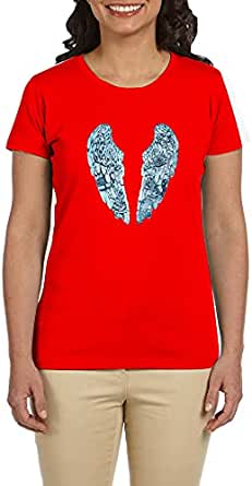 PTB W-NK008 Red T-Shirts Printed Short Sleeve For Women