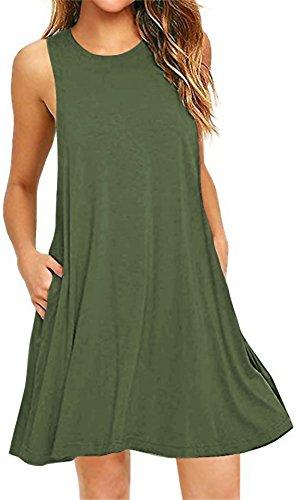 LunaJany Women's Sleeveless Pockets Casual Swing T-Shirt Dress