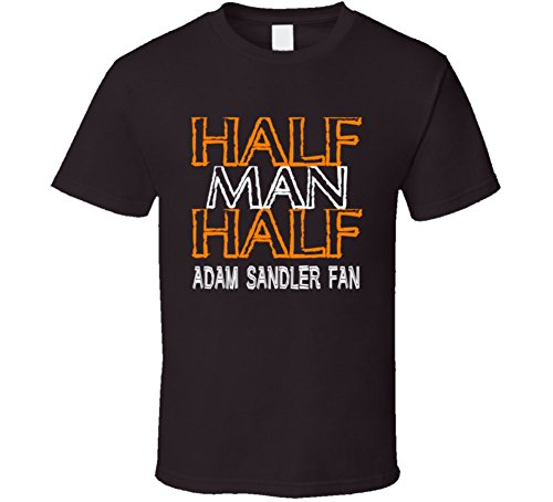 - PartyHardTees Half Man Half Adam Sandler Fan Celebrity T Shirt 2XL Dark Chocolate
