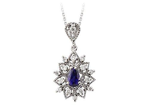Pendentif Saphir et Diamants-Femme- or Blanc 206P0004