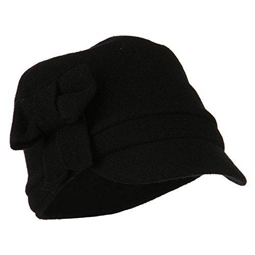 Ladies Wool Bow Cabby Cap - Black OSFM