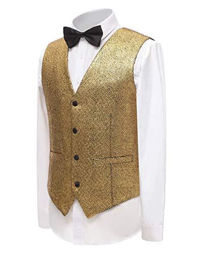 - YBang Men's Gold Christmas Vest 4 Buttons Slim Fit Waistcoat WD157-MJ (Gold, L)