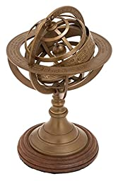 Deco 79 Aluminum Armillary with 6-Inch Nautical Maritime Decor, 9-Inch