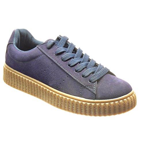 Angkorly - Chaussure Mode Baskets plateforme femme Talon plat 3 CM - Bleu