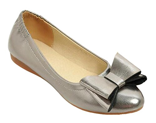 SHOWHOW Womens Fashion Solid Bow Round Toe Low Top Slip On Low Heel Dress Ballet Flats Shoes Gray JY815W