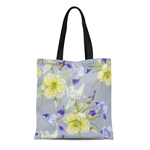 Semtomn Canvas Tote Bag Shoulder Bags Green Blue Vintage Floral Watercolor Iris Daylily Colorful Bloom Women's Handle Shoulder Tote Shopper Handbag