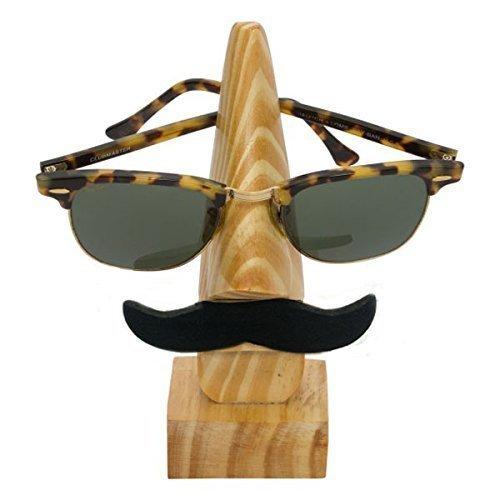 PMK Wooden Handmade Spectacle Holder, Pine Wood Mustache Eyewear Holder, Nose Shaped Spec Holder, Sunglass Holder, Spec Display Holder for Men & Women's - 6 X 2 ()