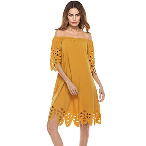 Women Dress,IEason Hot Sale! Fashion Women Off Shoulder Sundress Mini Dress Beach Party Dress (XL, Yellow) (Dress Sale Maxi)