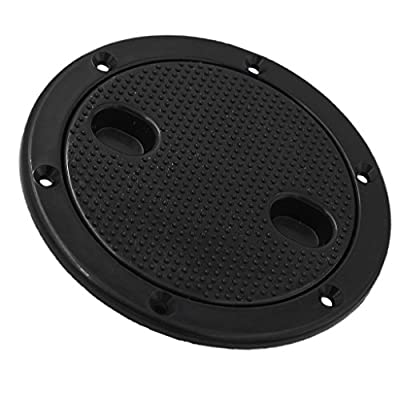Jili Online 4'' Screw Out Deck Plate Access Hatch Cover Black Plastic for Boat Cabin