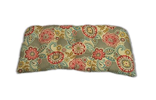 Resort Spa Home Decor Indoor/Outdoor Tufted Cushion for Wicker Loveseat Settee - Light Grey/Gray Paisley Floral - Pink, Red, Yellow, Orange, White (Paisley Settee)