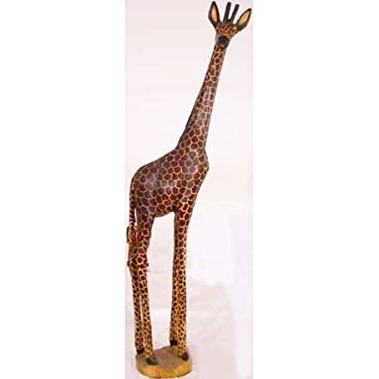 Amazoncom 4 Foot Tall Hand Carved Realistic Wooden Giraffe