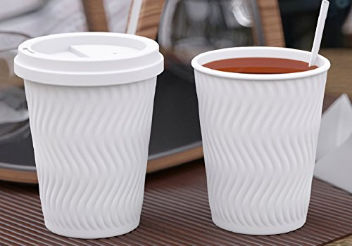 Cartico & Co Premium Disposable Paper Coffee Cups with Lids (50pack, 12oz), Luxury White Double layered cup great for To Go Hot or Cold Drinks like Latte, Tea, Espresso, Chocolate or Juices