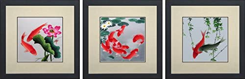 King Silk Art 100 Handmade Embroidery Mixed Group Feng Shui Orange Black or Red Japanese Koi Lotus Water Lilies Chinese Wildlife Fish Painting Anniversary Wedding Birthday Party Gifts Oriental Asian Wall Art D cor Artwork Hanging Picture Gallery 32004WF 32010WF 32015WF