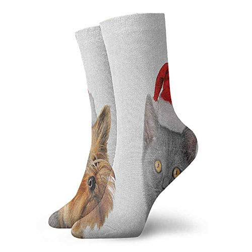 - Fun socks Adorable Cat and Dog with Xmas Hats Domestic Pet Animals Holiday Celebration Suitable for young people