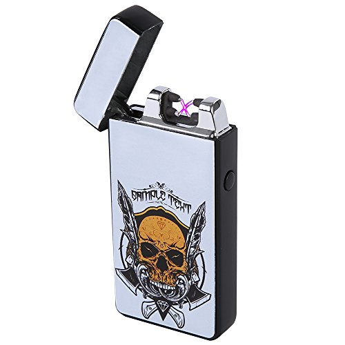 HopingFire Hot Selling New Fashion Skull Dual Arc USB Lighter, Windproof Double Beams Pulse Rechargeable Cigarette Electronic Lighter in High Grade Packing Box (Cross Cigarette Lighter)