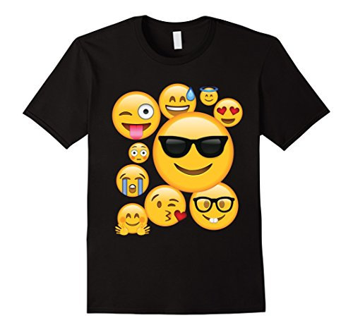 Men's Emoji Pack ComboT-shirt Emoticon Smily Face Tshirt. XL Black