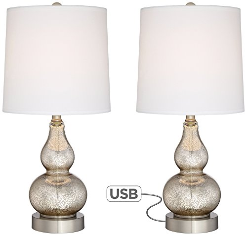 Set of 2 Castine Mercury Glass Table Lamps with USB - Glass Glass Lamp Table