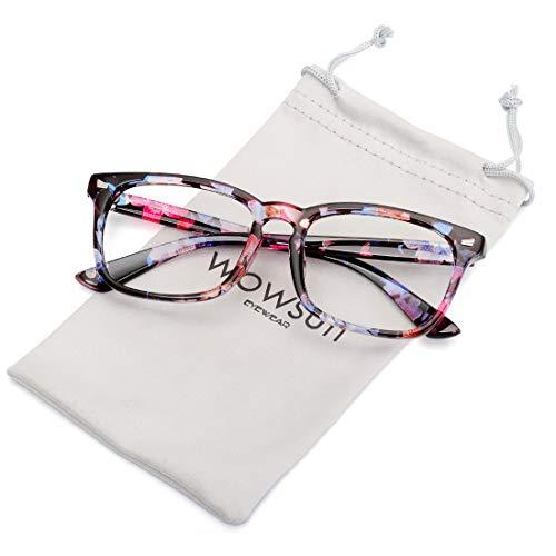 (WOWSUN Non Prescription Glasses for Women Men,Clear Lens Eyeglasses Fashion Nerd Optical Frames Fake Eye Glasses Flower)