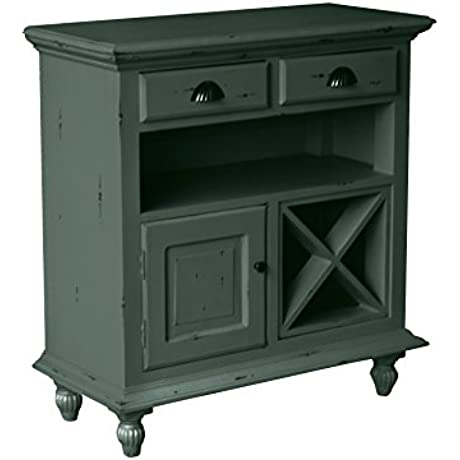 NES Furniture Nes Fine Handcrafted Furniture Solid Mahogany Wood Fleming Wine Cabinet 34 Antique Grey