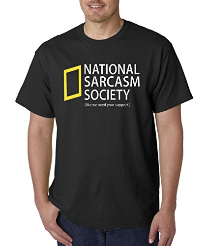 New Way 485 - Unisex T-Shirt National Sarcasm Society Geographic Parody Small Black