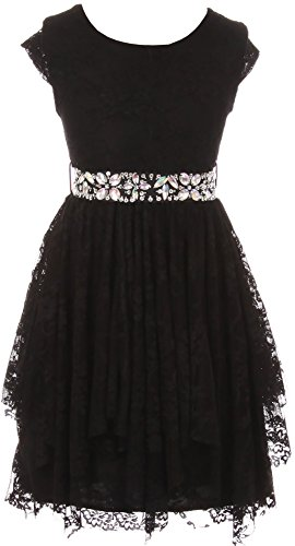 BNY Corner Big Girl Short Sleeve Floral Lace Ruffles Holiday Party Flower Girl Dress Black 8 JKS 2095 -