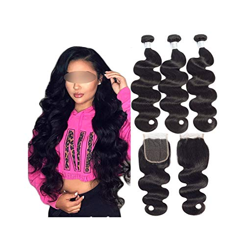 Peony red Brazilian Body Wave Hair Weave 3 Bundles With Closure Double Weft Remy Human Hair Bundles With Closure,20 & 22 & 24 & Closure 18,Natural Color,Three Part