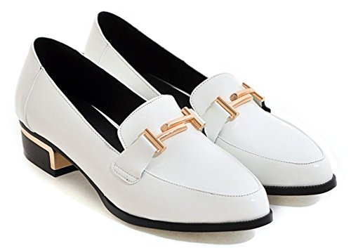 Sfnld Womens Trendy Pointed Toe Low Cut Block Heel Slip On Loafers Shoes White gqaiYSEY8
