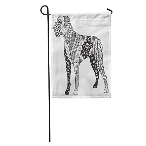 Boxers Indian (Semtomn Garden Flag Book Boxer Dog Zentangle Freehand Pencil Pattern Zen Ornate Lace Home Yard Decor Barnner Outdoor Stand 28x40 Inches Flag)
