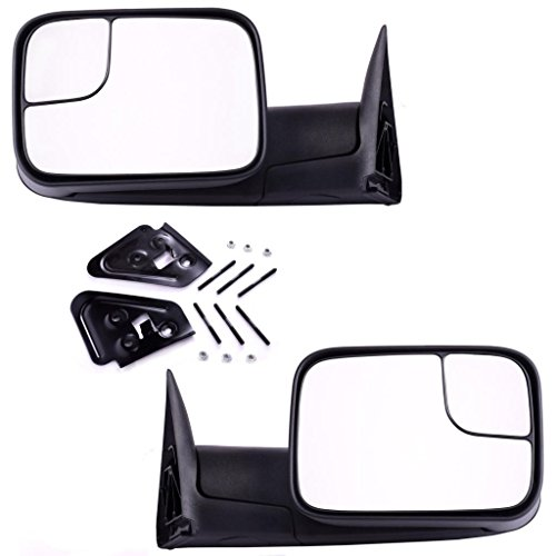 DEDC Dodge Tow Mirrors Dodge Ram 1500 2500 3500 Pair Manaul Folding With Support Brackets Set For 1994-2001 Dodge Ram 1500 2500 3500