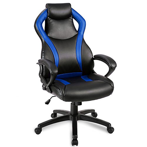 41T7YWzW6lL - Merax-Racing-Style-Leather-Gaming-Chair-Office-Desk-Chair-Pu-Leather-Swivel-Computer-Chair-Blue