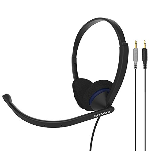 Koss Hands Headphones Free - Koss CS200 Communication Headset Headphones | 3.5mm Analog Plugs | Lightweight | D-Profile | Noise-Cancelling Electret Microphone | for Telephones and Office Phones