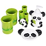 Angda Kid's Cartoon Cute Baby Panda Resin Bathroom Accessories Set for Housewarming Wedding Gift Soap Dispenser Soap Dish Toothbrush Holder Tumbler Cups (Panda01)