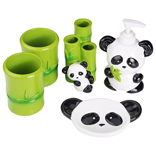 Angda Kid's Cartoon Cute Baby Panda Resin Bathroom Accessories Set for Housewarming Wedding Gift Soap Dispenser Soap Dish Toothbrush Holder Tumbler Cups (Panda01) by Angda