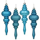 Vickerman 4 Finish Finial Ornaments, 7-Inch, Turquoise, 8-Pack
