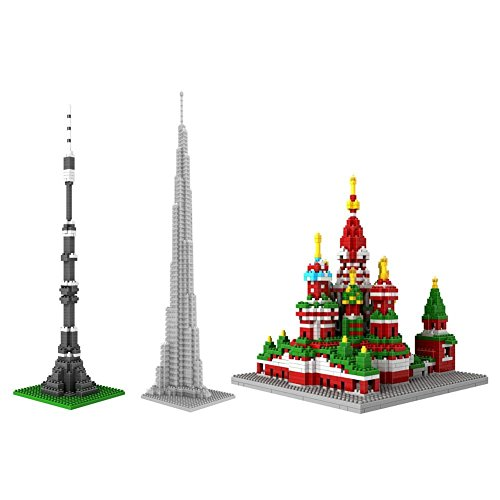 LOZ Great Architecture Set Pack of 3 Moscow Tower Khalifa Tower the Cathedral of St Basil Nano block Educational Toy 2940pcs