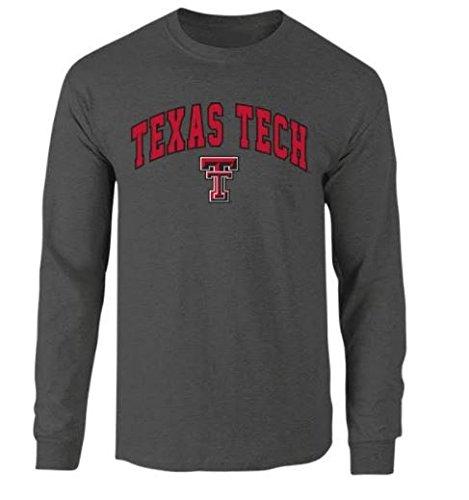Elite Fan Shop Texas Tech Red Raiders Long Sleeve Tshirt Arch Charcoal - XL Texas Tech Fan Shop