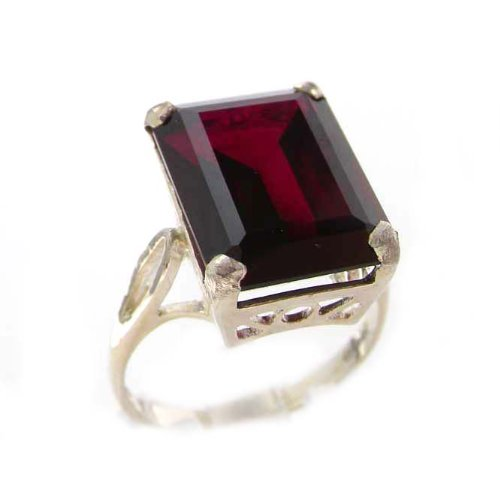 Luxury Solid Sterling Silver Large 16x12mm Octagon cut Synthetic Ruby Ring – Size 12 – Finger Sizes 5 to 12 Available – Suitable as an Anniversary ring, Engagement ring, Eternity ring, or Promise ring
