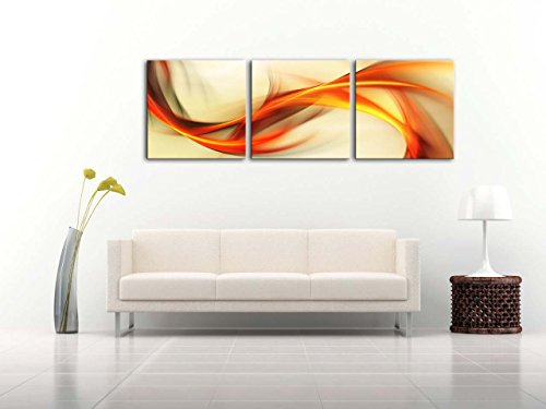 Canvas Print Wall Art Painting For Home Decor Abstract Elegant Wavy Background In Orange And Golden Over White Background 3 Pieces Panel Paintings Modern Giclee Stretched And Framed Artwork The Picture For Living Room Decoration Abstract Pictures Photo Pr
