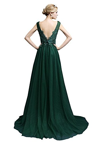 Arm rückenfrei Abend langes Transparent V Maxi Emily Dunkel Kleid tiefer Ohne Beauty Spitzen Grün FwRq1A