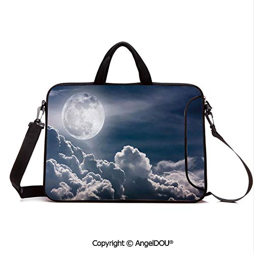 AngelDOU Customized Neoprene Printed Laptop Bag Notebook Handbag Celestial Photo Big Full Moon and Fluffy Clouds Majestic Dramatic Idyllic Compatible with mac air mi pro/Lenovo/asus/acer Dark Blu