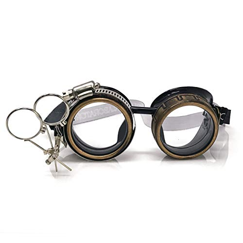 Steampunk Victorian Style Goggles with Compass Design, Rave Diffraction Glasses Spiral Lenses Spiral Crystal Clear Lenses