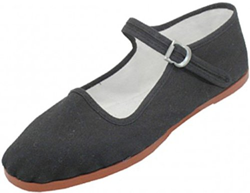 Easy USA Womens Cotton Mary Jane Shoes Ballerina Ballet Flats Shoes (7, Black 114)]()