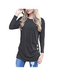 Shinekoo Women Autumn Long Sleeve Casual Loose Tunic Top Buttons Blouse T-Shirt