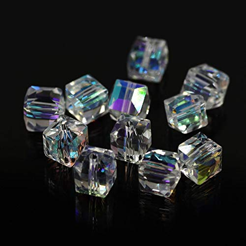 (Calvas AB Faceted Square Glass Beads Chinese Beading Wholesale DIY Making Jewelry Material Crystal Cube Clear Bead 2/3/4/6/8/10mm - (Color:, Item Diameter: 10mm 40pcs))