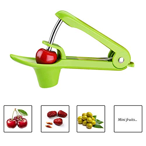 Cherry Pitter, YISSCEN Cherry Olive Seed Remover Tool with Food-Grade Silicone Cup, Heavy-Duty Cherry Stoner/Cherry Core Remover/Oliver Pitter with Space-Saving Lock Design (Green)