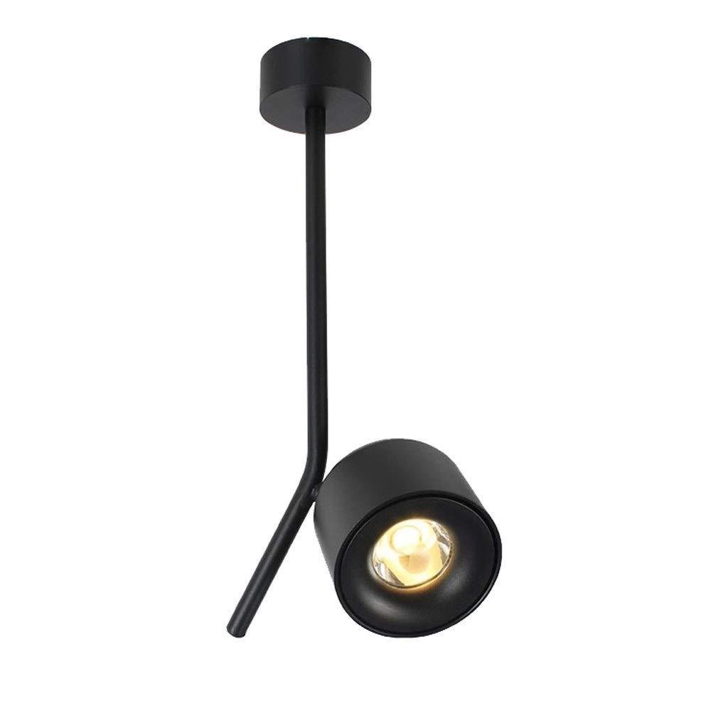 TYUIO 360°調節可能なLED屋内天井スポットライトウォールライト - アートDIYスポットライト-7W暖かい白色光3000K天井ダウンライト - 表面実装COB照明スイベルランプ(ホワイト/ブラック) (Color : Black, Size : Natural light) Natural light Black B07TRCJL6Y