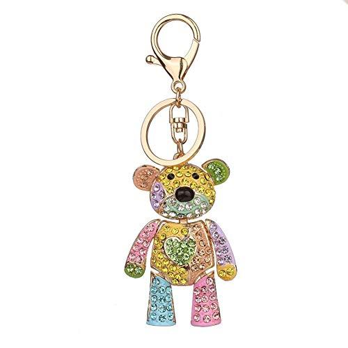 wintefei Fashion Colorful Rhinestone Inlaid Bear Key Chain Pendant Keys Organizer Decor - 3#