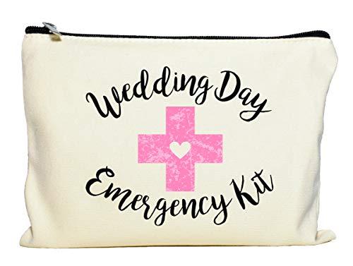 Moonwake Designs Wedding Day Emergency Kit Makeup Bag, Bridal Shower Gift, Wedding Survival Kit, Cosmetic Bag -