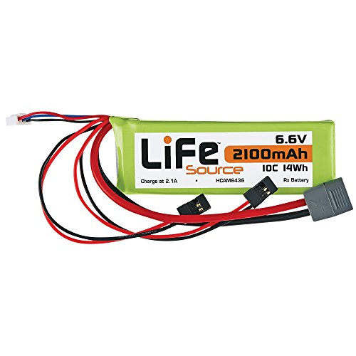 Hobbico LiFeSource LiFe (Lithium Iron Phosphate) 6.6V 2100mAh 10C RC Receiver Battery Pack with Universal Radio Transmitter Connectors